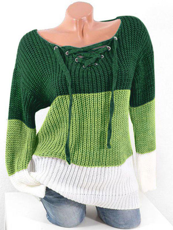 Plus Size Colorblock Lace Up Chunky Sweater - MEDIUM SEA GREEN 4X