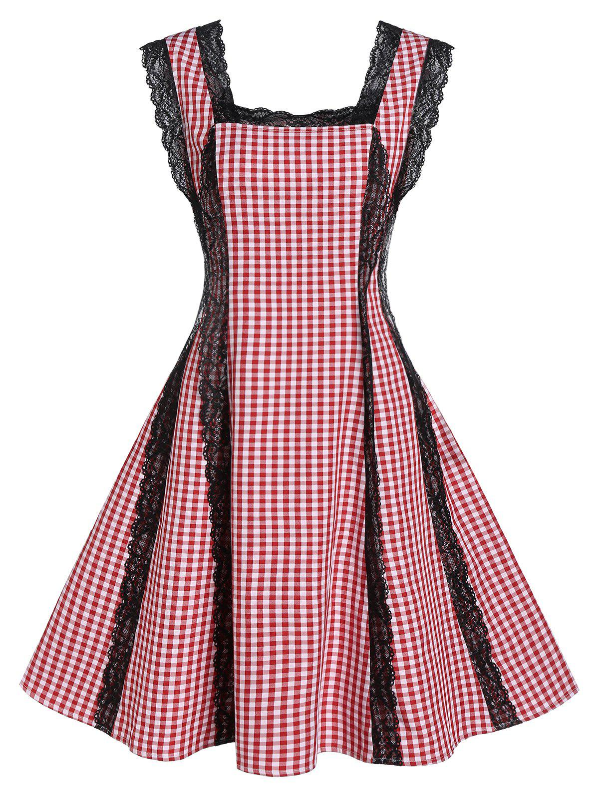 Plaid Pattern Square Neck Lace Patchwork Dress - RED XL