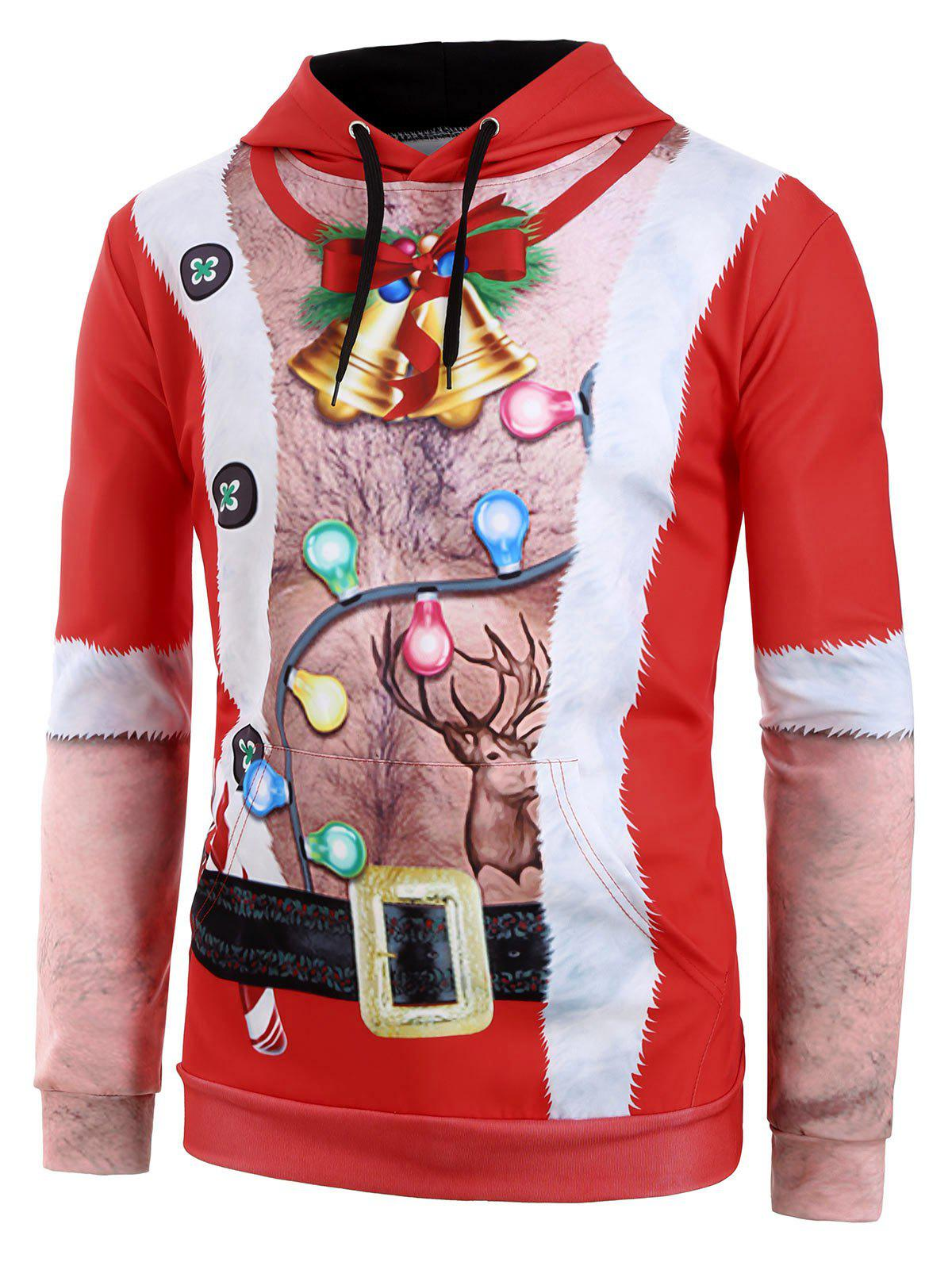Ugly Chest Hair Print Front Pocket Christmas Hoodie - RED M