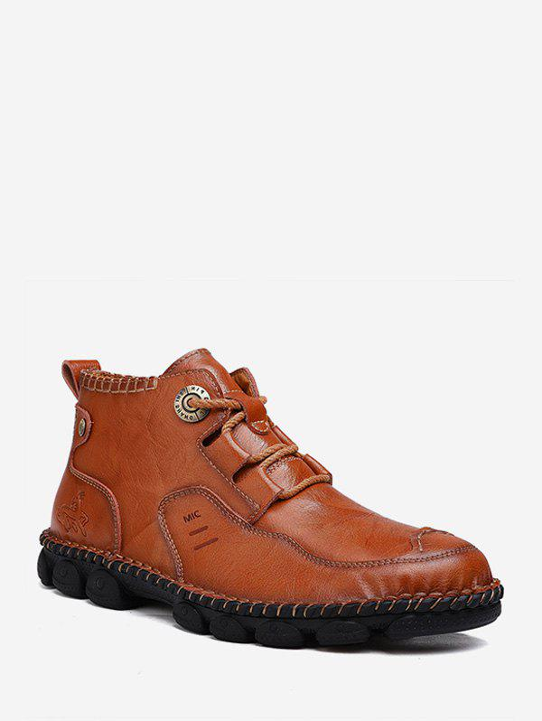 Sewing Faux Leather Casual Ankle Boots - CHESTNUT RED EU 43