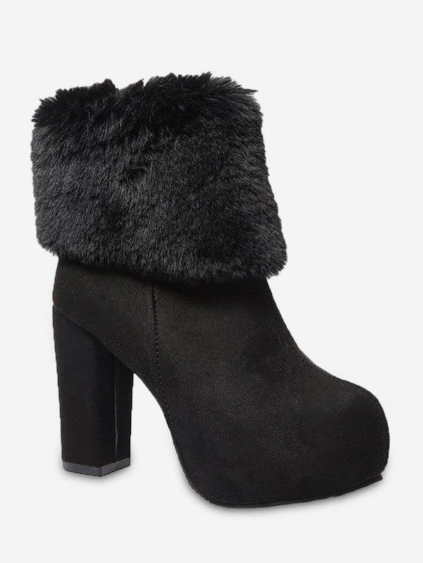 High Heel Platform Fuzzy Trim Boots - BLACK EU 40