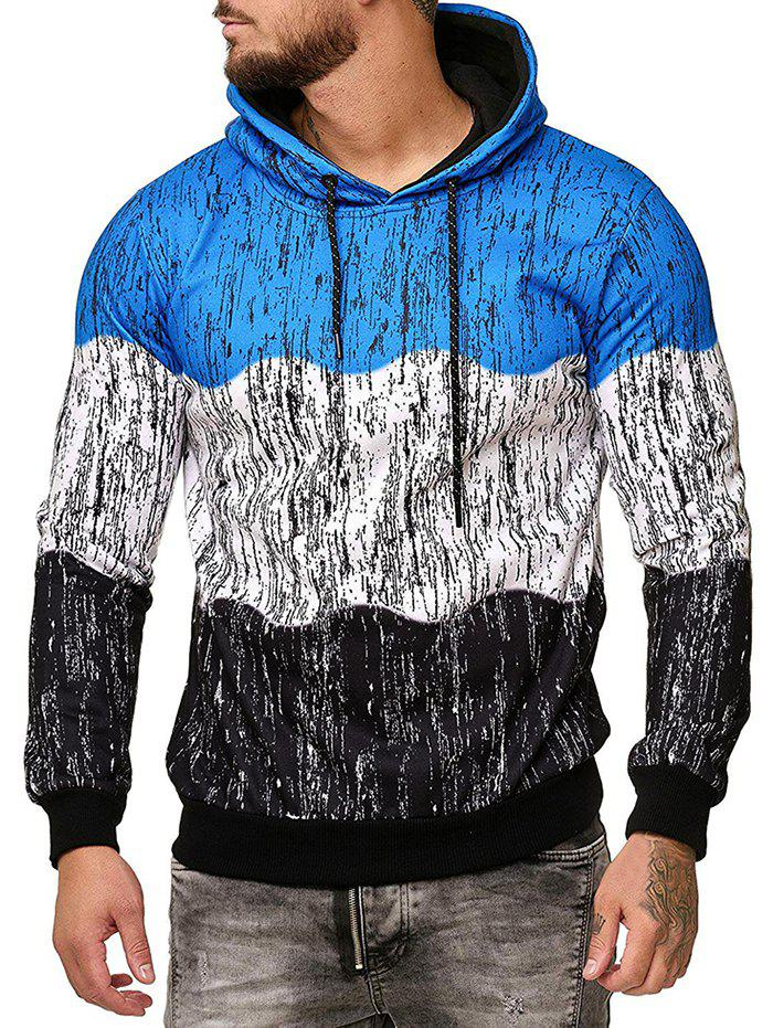 Splatter Ink Color-blocking Drawstring Fleece Hoodie
