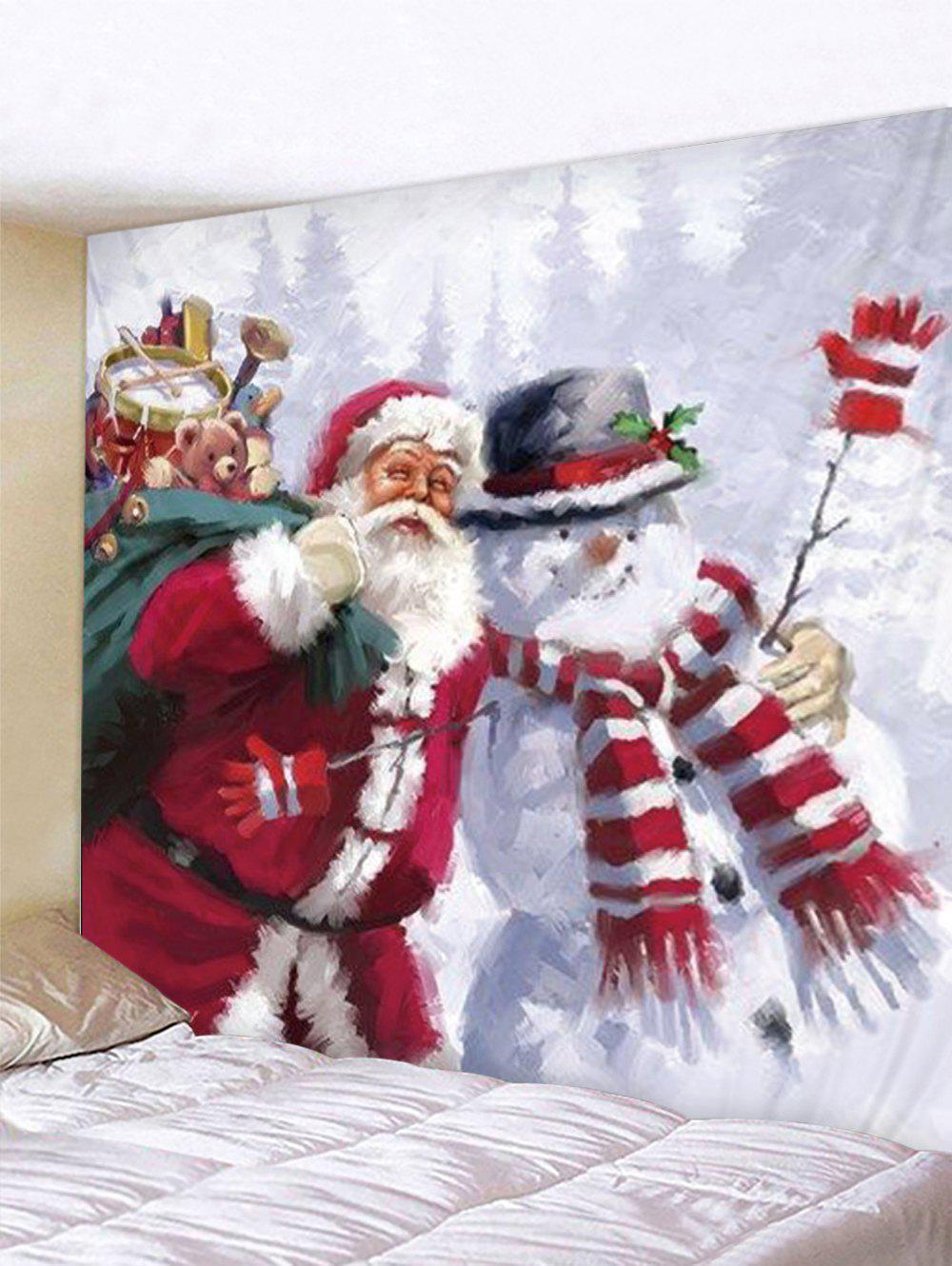 Christmas Santa Claus Snowman Print Tapestry Wall Hanging Art Decoration - multicolor W79 X L71 INCH
