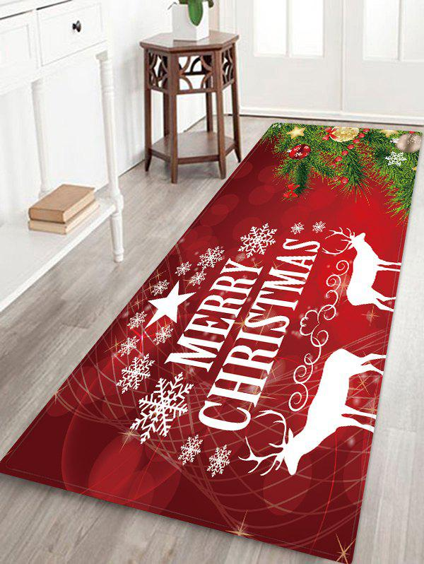 Christmas Tree Deer Greeting Patterned Water Absorption Area Rug - multicolor W24 X L71 INCH