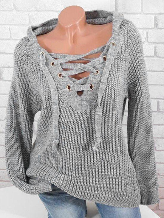 Plus Size Hooded Lace Up Sweater - LIGHT GRAY L
