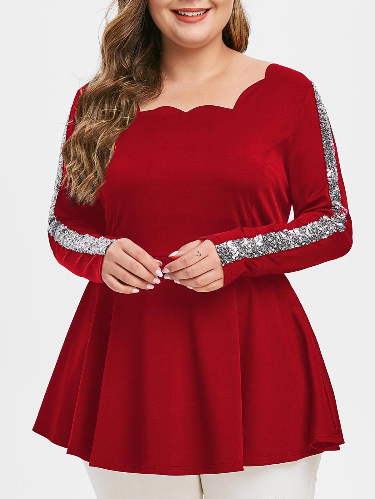 Plus Size Scalloped Sequins T Shirt - CHESTNUT RED 3X