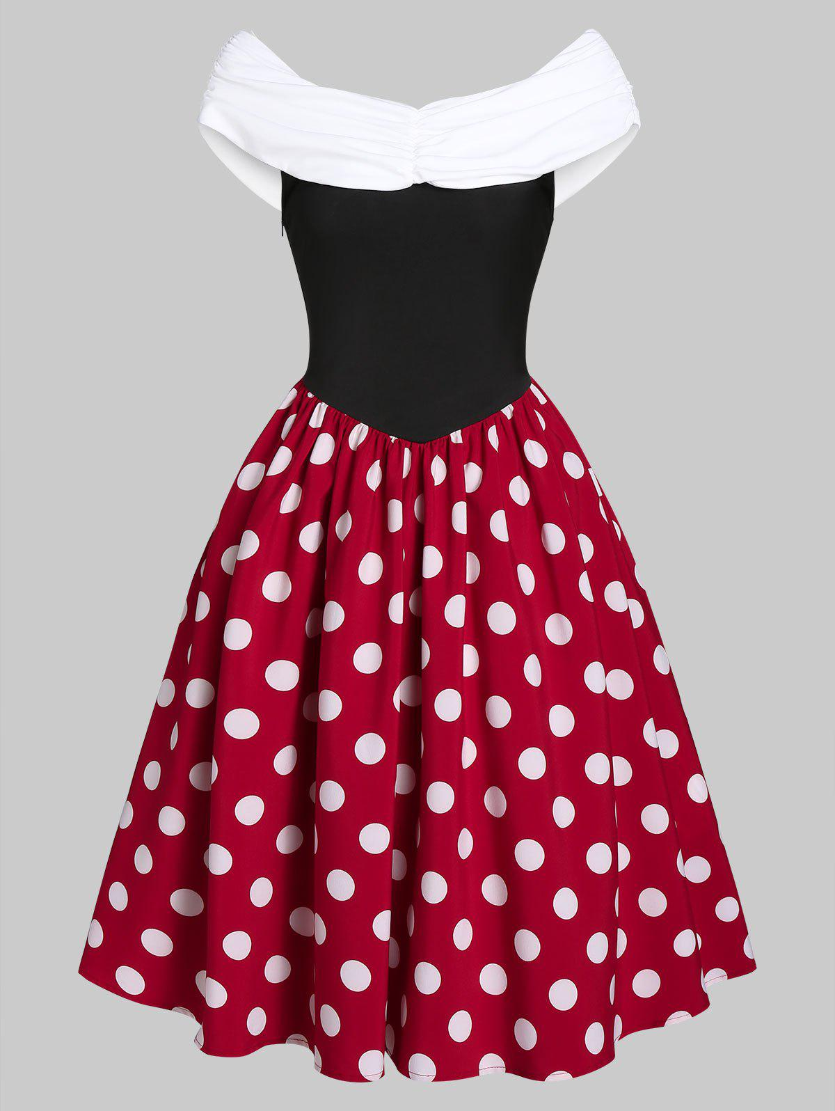 Polka Dot Print Ruched Midi A Line Dress - multicolor A XL