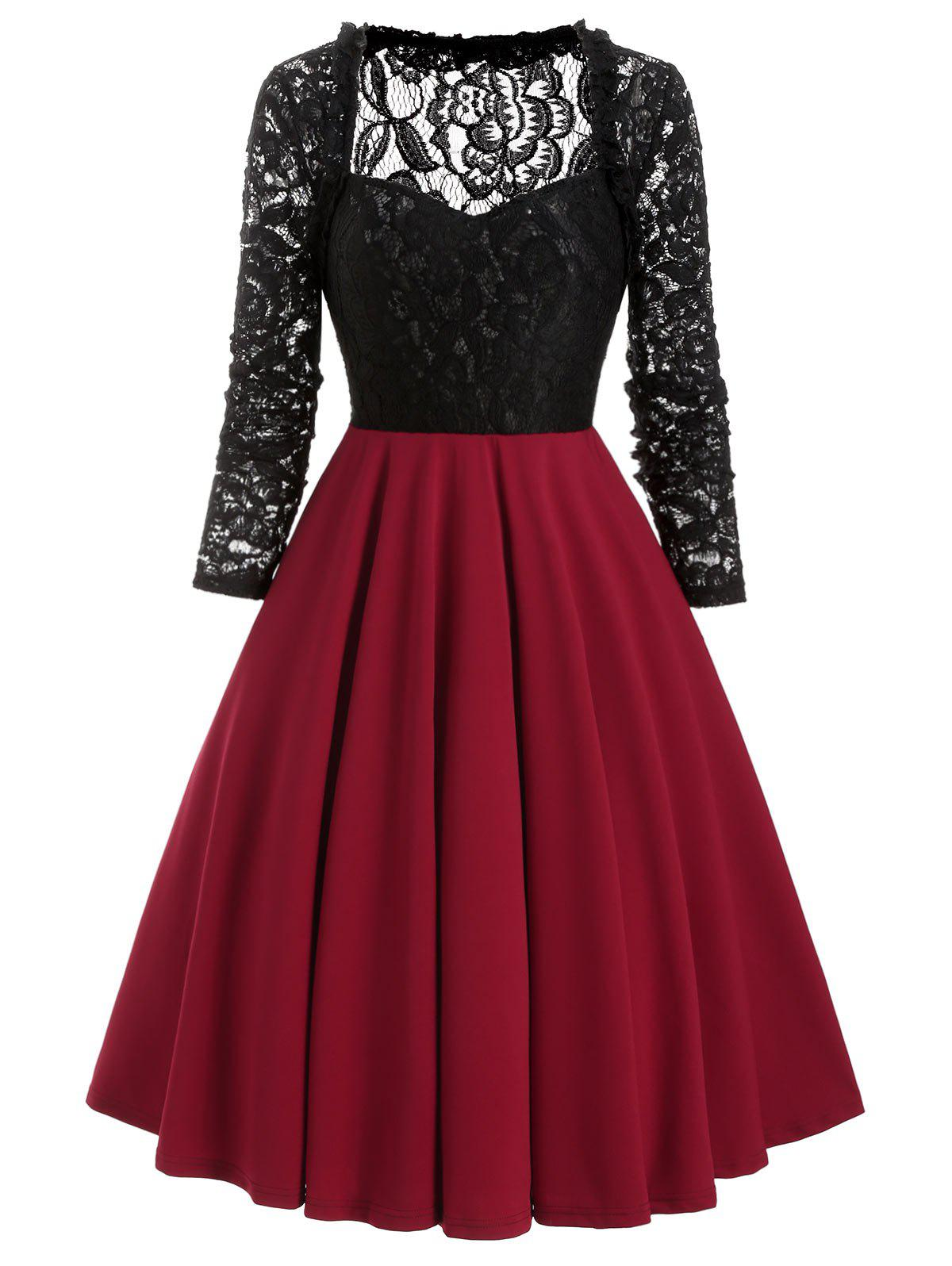 Sweetheart Neck Lace Bodice Fit and Flare Dress - RED WINE S