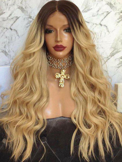 Long Middle Parting Ombre Wavy Capless Synthetic Wig - CAMEL BROWN