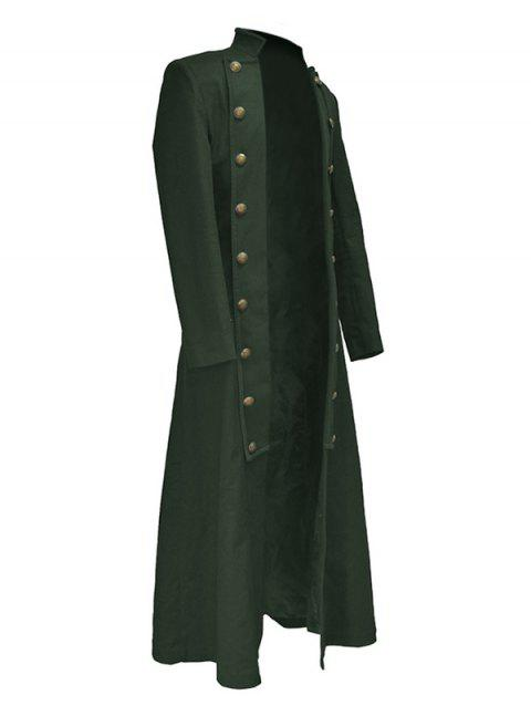 Solid Color Button Decorated Trench Coat - ARMY GREEN 2XL