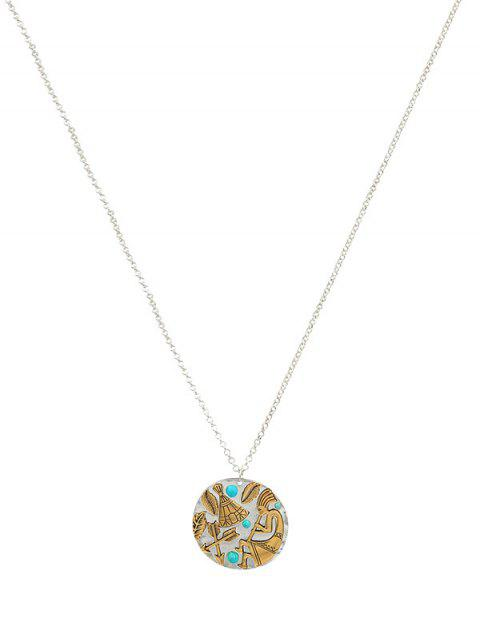Indian Pattern Round Pendant Necklace - SILVER