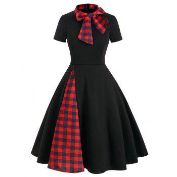 plaid panel bow tie vintage rockabilly style a line dress