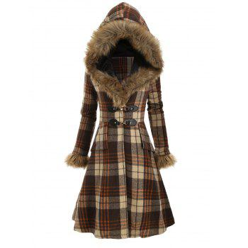 Plaid Faux Fur Hood Longline Coat