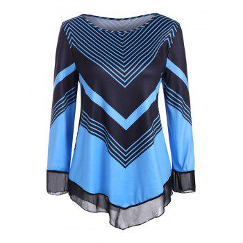 Striped Chiffon Panel Long Sleeves Tee