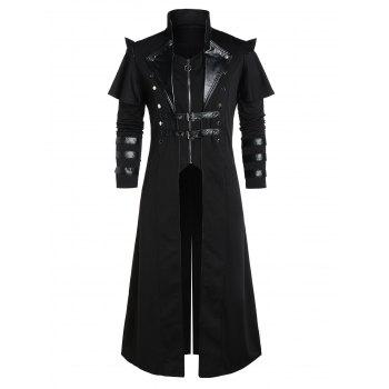 Buckle Strap Back Slit Zip Up Faux Twinset Coat