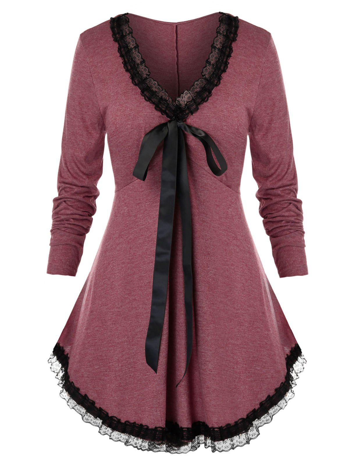 Plus Size Lace Panel Trim Tie Long Sleeve Curved Tee - RED WINE 5X
