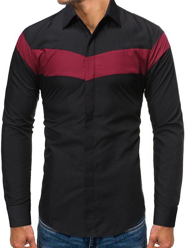 Color Blocking Long-sleeved Button Shirt - BLACK 2XL