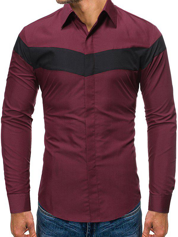 Color Blocking Long-sleeved Button Shirt - RED WINE 2XL