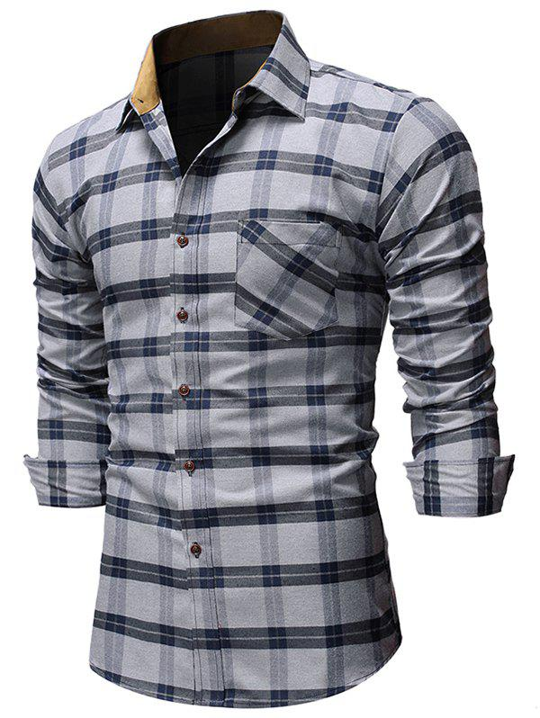 Plaid Pattern Pocket Design Long-sleeved Shirt - GRAY CLOUD M