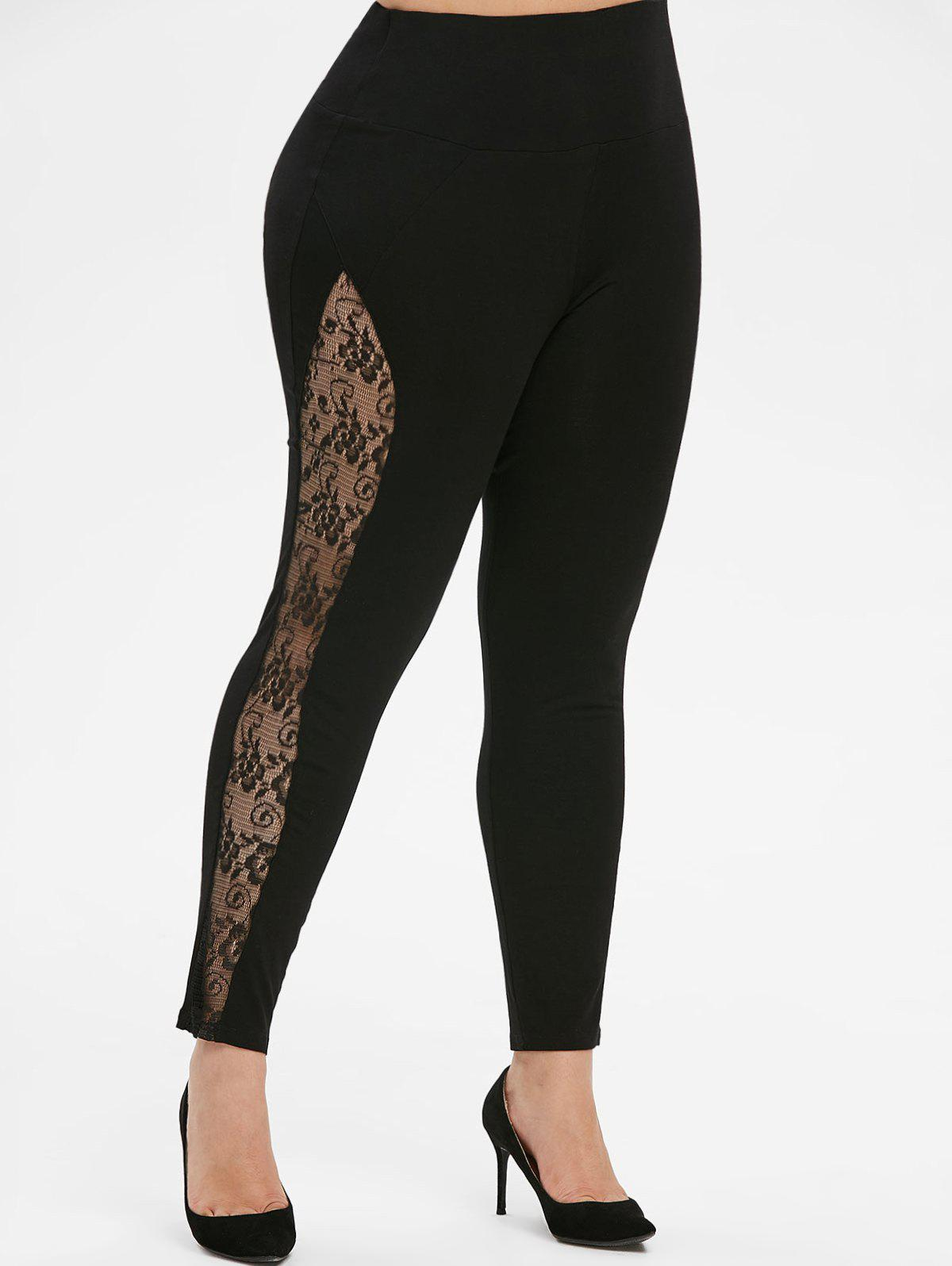 Pull On Lace Panel High Waisted Plus Size Leggings - BLACK L