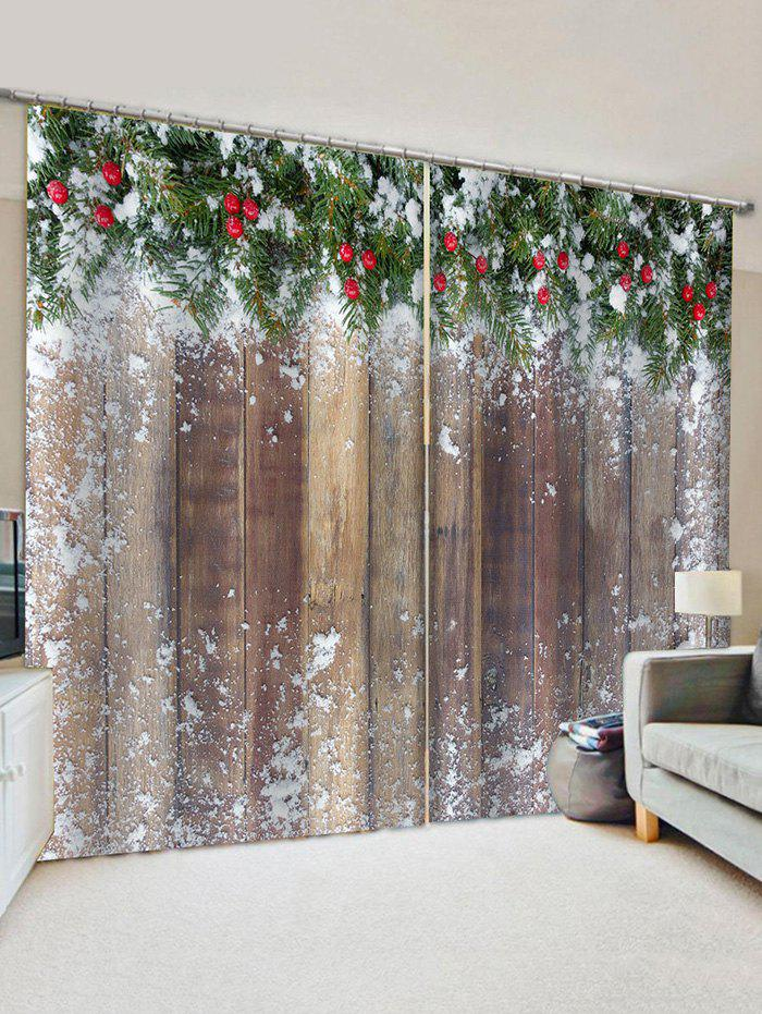 Christmas Snow Wooden Pattern Window Curtains - multicolor W33.5 X L79 INCH X 2PCS