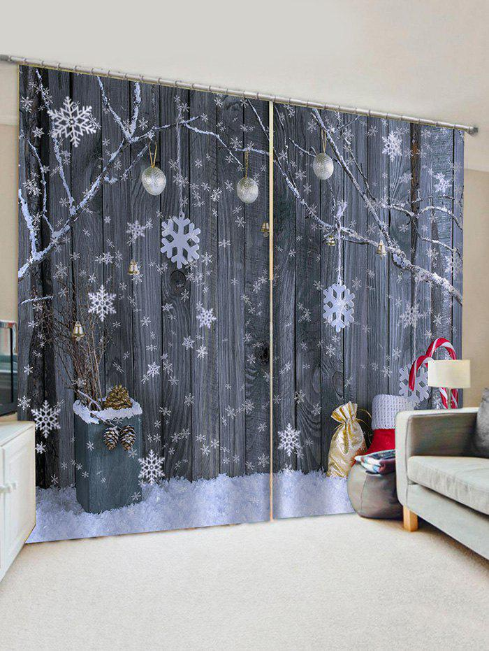 Christmas Snowflake Wooden Pattern Window Curtains - multicolor W33.5 X L79 INCH X 2PCS