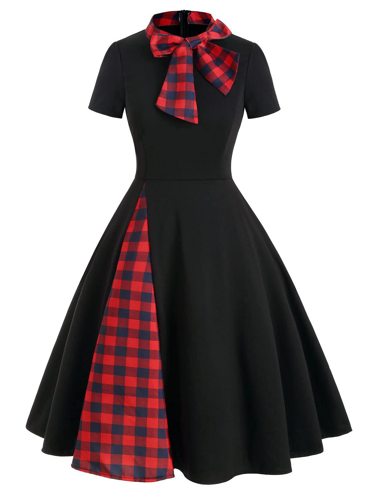 Plaid Panel Bow Tie Vintage Rockabilly Style A Line Dress - BLACK S