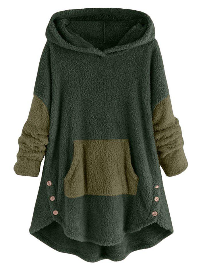 Two Tone High Low Faux Shearling Hoodie - SEA TURTLE GREEN L