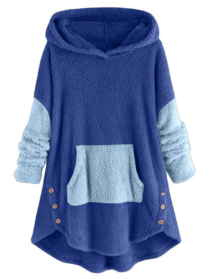 Two Tone High Low Faux Shearling Hoodie - SILK BLUE M