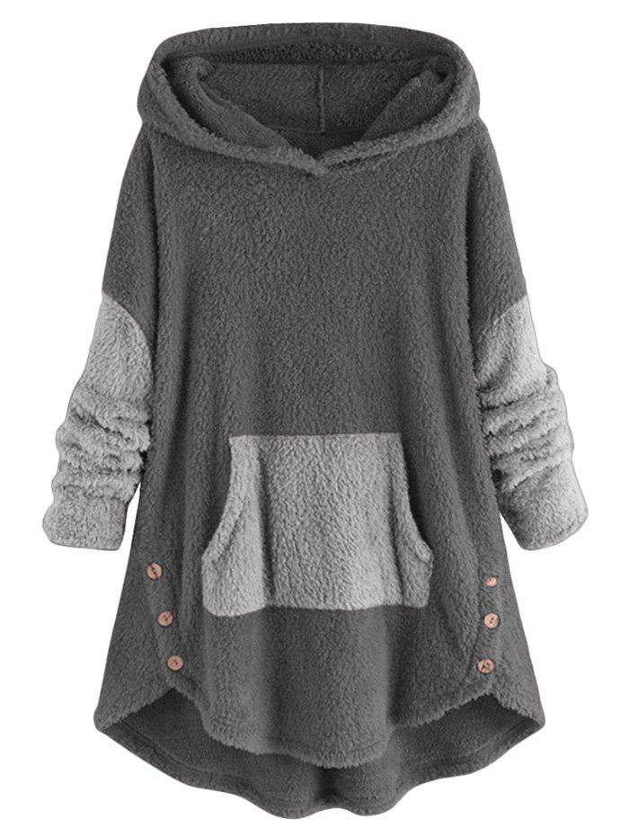 Two Tone High Low Faux Shearling Hoodie - GRAY 3XL