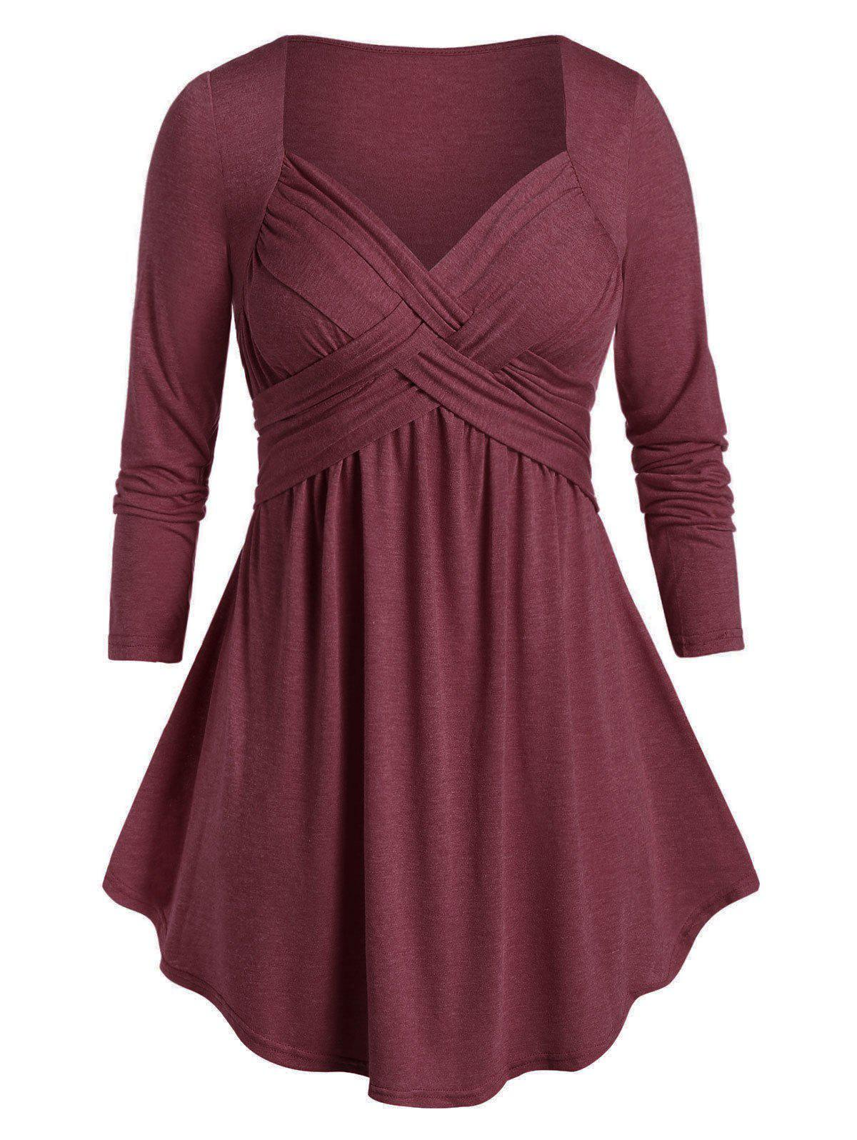 Plus Size Space Dye Tunic Flare T Shirt - RED WINE L