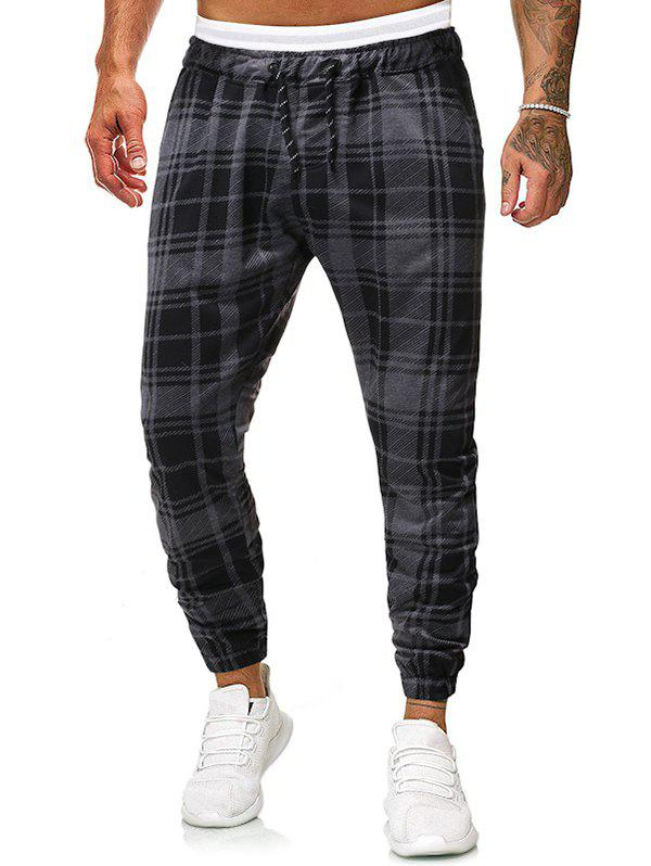 Casual Plaid Print Drawstring Jogger Pants - BATTLESHIP GRAY S