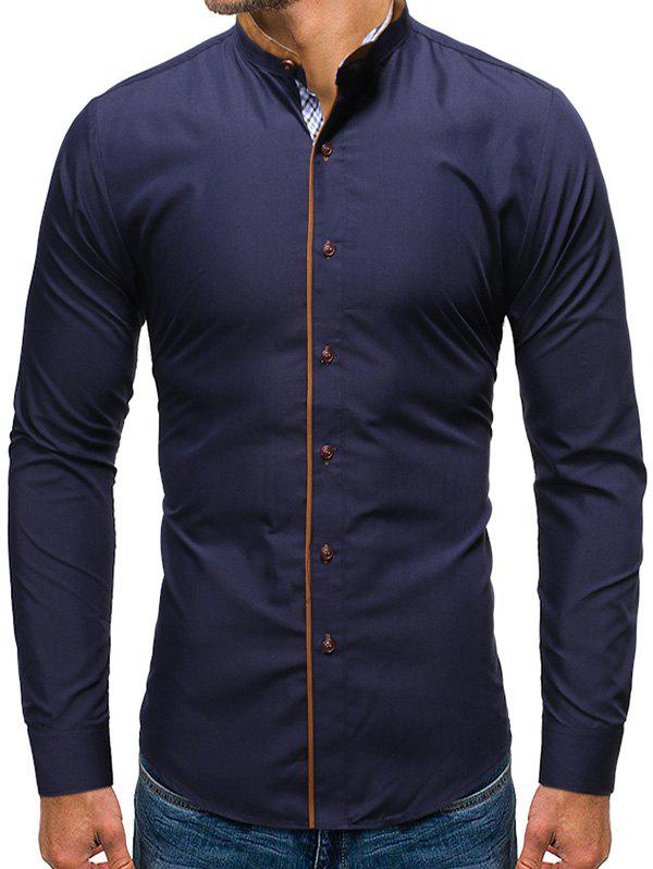 Solid Color Button Up Casual Long-sleeved Shirt - CADETBLUE 2XL