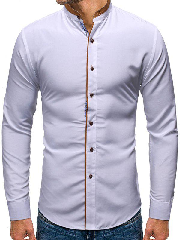 Solid Color Button Up Casual Long-sleeved Shirt - WHITE XL
