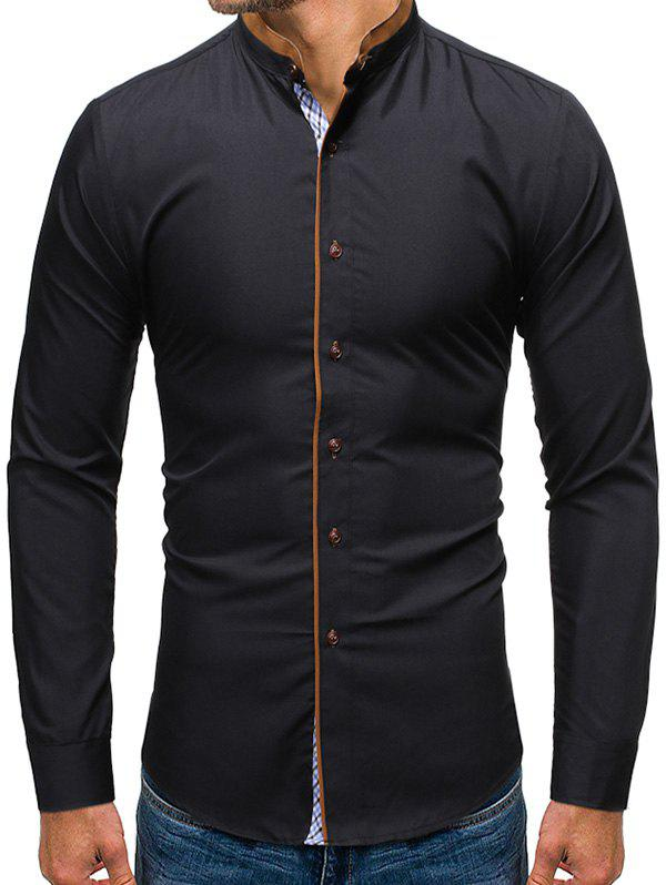 Solid Color Button Up Casual Long-sleeved Shirt - BLACK XL