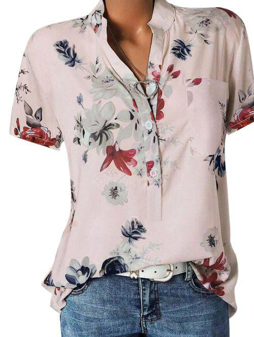 Plus Size Half Button Floral Print Blouse - PINK 4X