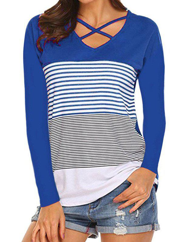 Striped Criss Cross V Neck Tee - BLUE XL
