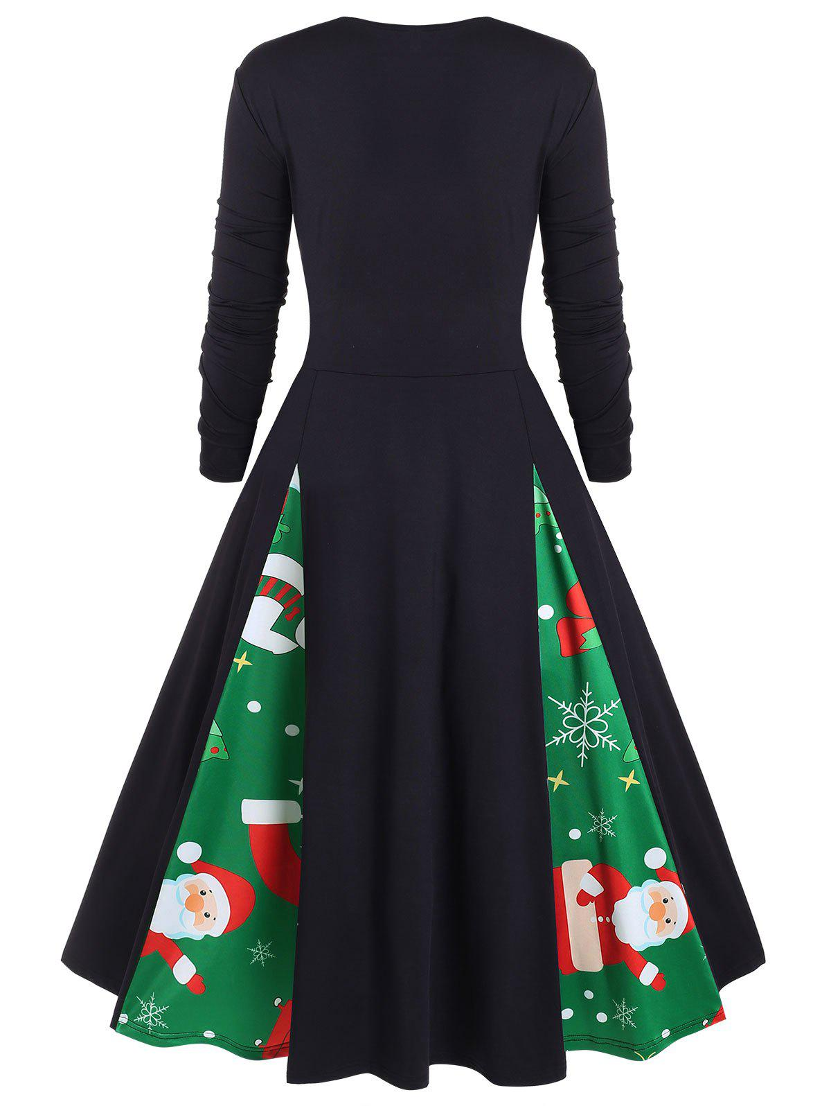 Plus Size Vintage Christmas Printed Pin Up Dress - CLOVER GREEN 5X