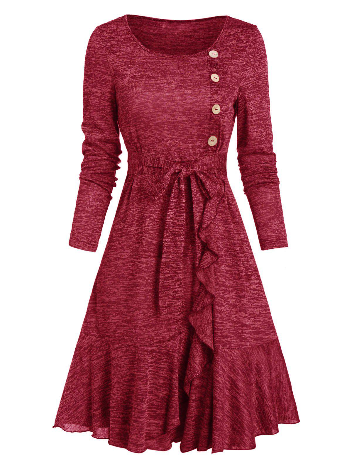 Button Ruffled Heather Knit A Line Dress - RED WINE 3XL