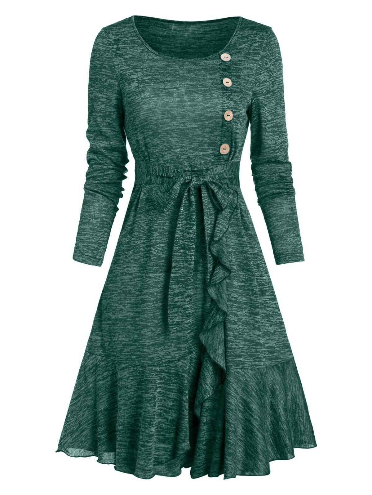 Button Ruffled Heather Knit A Line Dress - DARK GREEN L