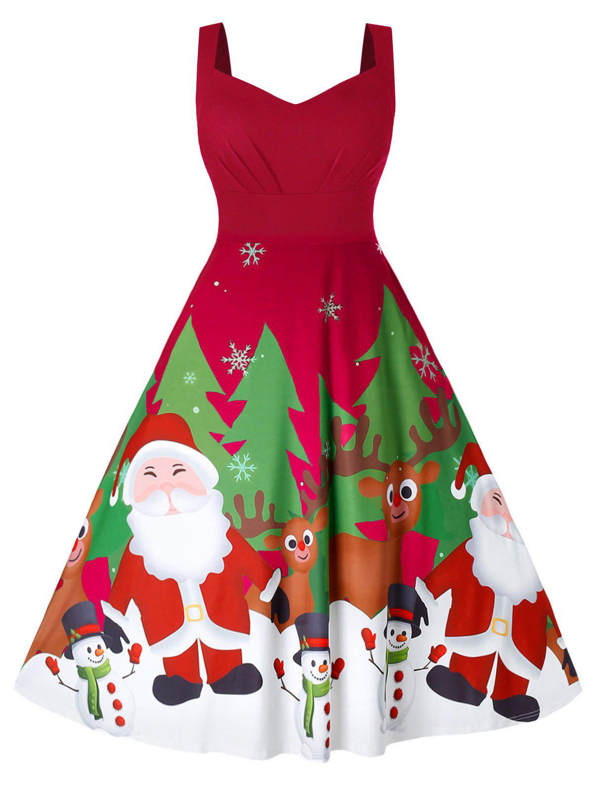 Plus Size Sweetheart Collar Christmas Sleeveless Dress - CHESTNUT RED 1X