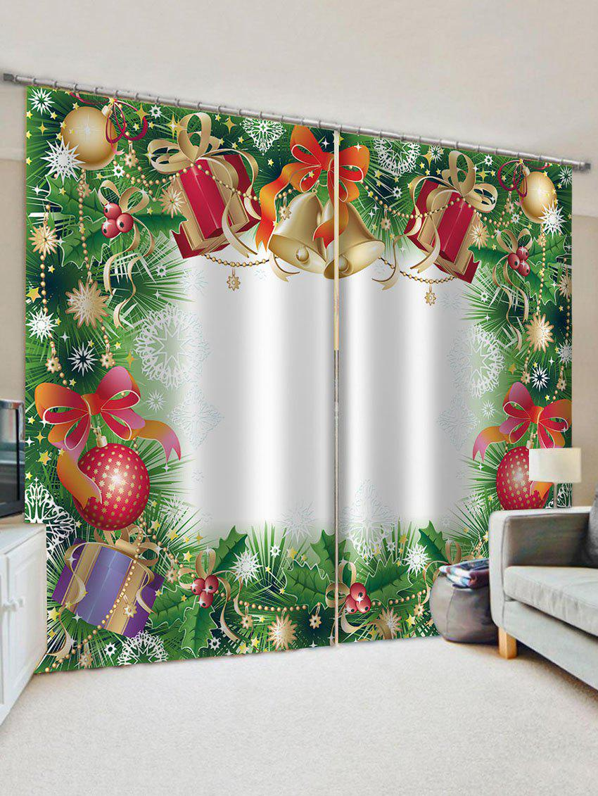 Christmas Bell Gift Pattern Window Curtains - multicolor W30 X L65 INCH X 2PCS