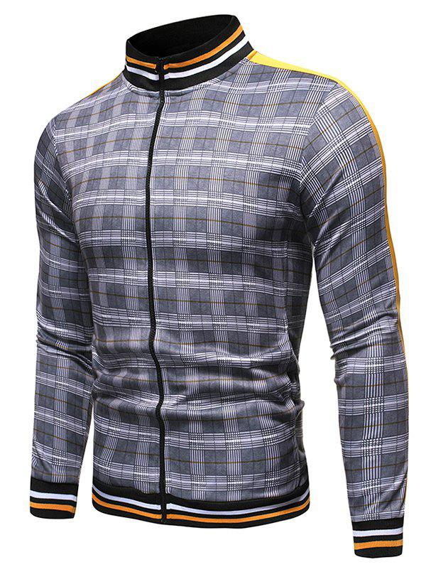Plaid Pattern Zip Up Casual Style Jacket - GRAY 2XL