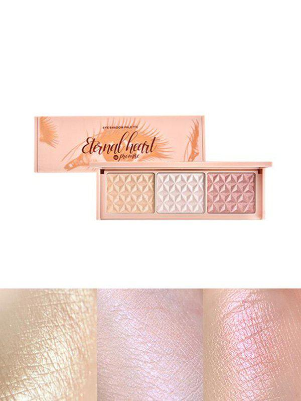 3 Colors Highlight Glitter Eyeshadow Palette - multicolor A