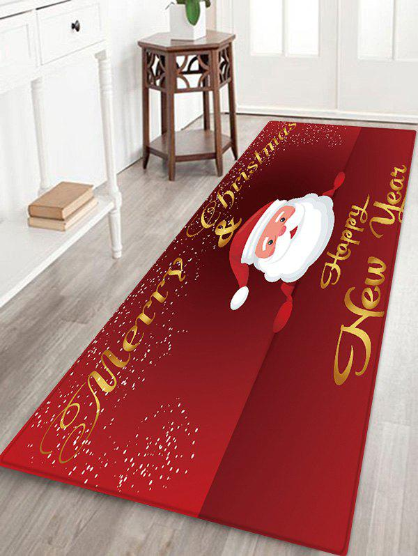 Merry Christmas Santa Claus Floor Rug - LAVA RED W24 X L71 INCH