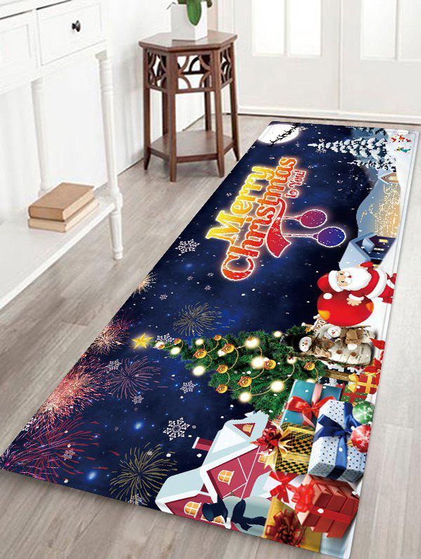 Merry Christmas Tree Santa Claus Floor Rug - MARBLE BLUE W24 X L71 INCH
