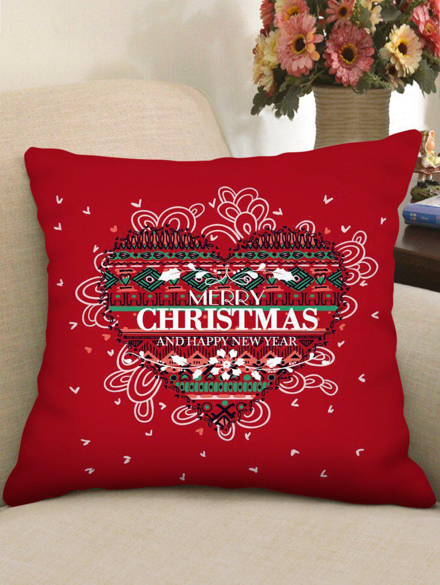 Merry Christmas Heart Pattern Pillow Cover - multicolor W18 X L18 INCH