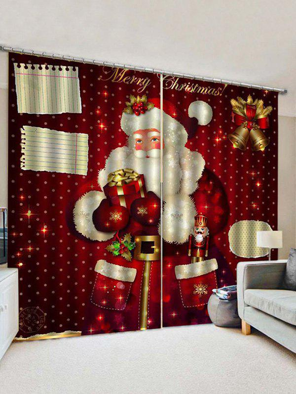 2 Panels Christmas Santa Claus Gifts Printed Window Curtains - multicolor W33.5 X L79 INCH X 2PCS
