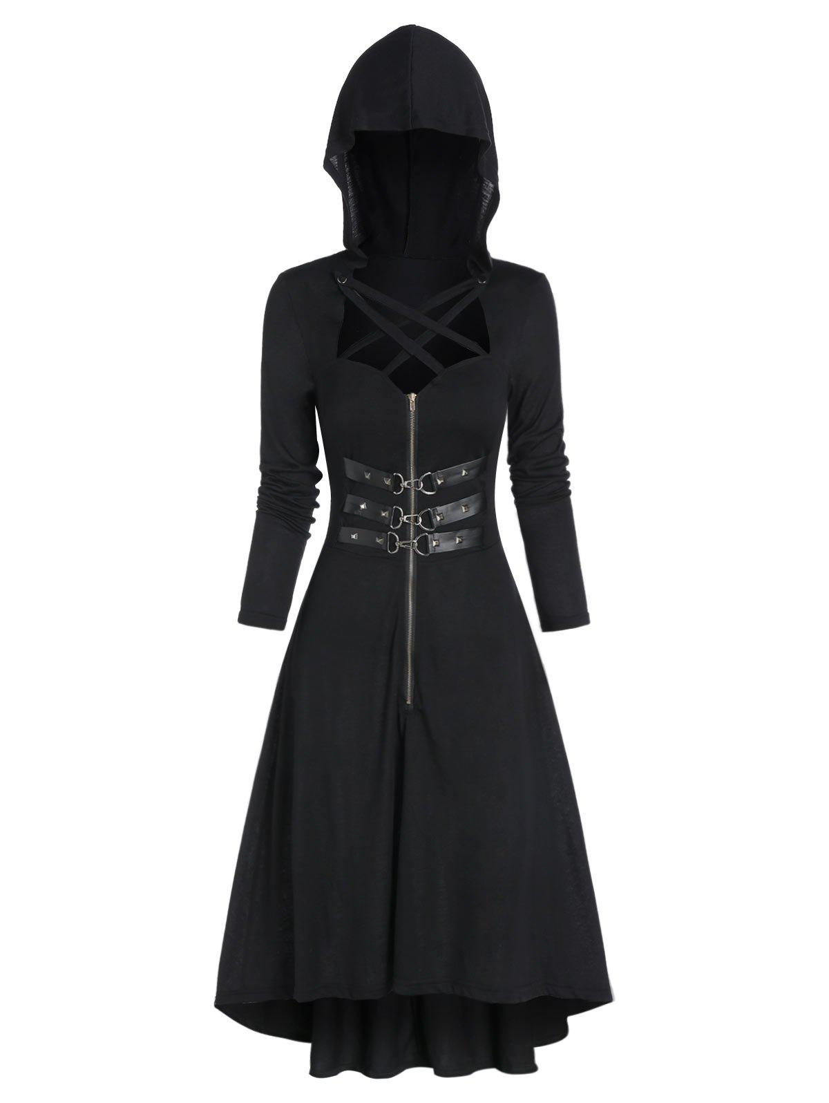 Hooded Lobster Buckle Strap High Low Gothic Dress - BLACK S