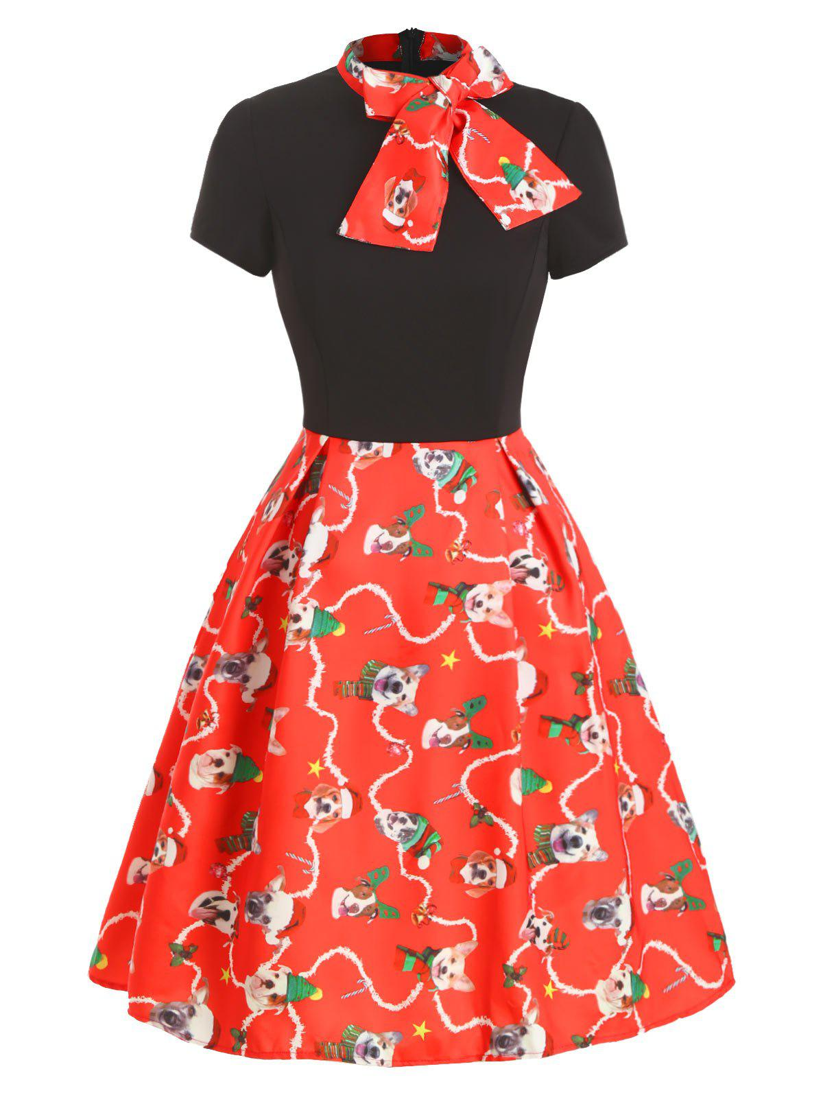 Christmas Funny Dog Print Bow Tie Vintage Dress - RED 2XL